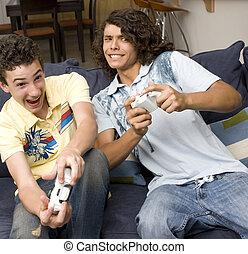 videogames, spielen, typen, zwei
