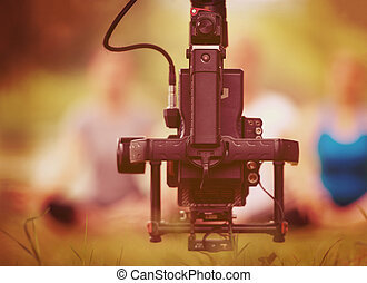 videographer, 女, ヨガ, 若い, 録音, 間, 練習