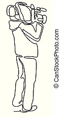 Videographer. Continuous line drawing. Isolated on the white...