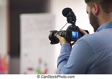 videographer, grabación, en, conferencia