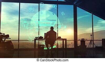 videographer, jego, 3d, miejsce pracy, sylwetka, render,...