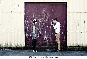 videographer, liebe, weinlese, paar, junger, video, retro, film