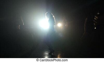Videographer take video dancing girls