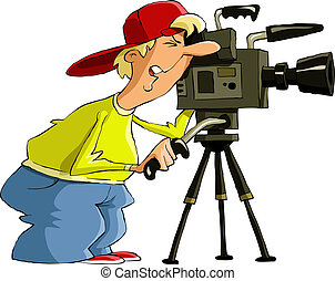 Videographer on a white background, vector illustration