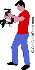 videographer with handheld steadycam illustration - vector