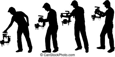 videographer with handheld steadycam silhouettes - vector