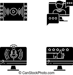 Videography black glyph icons set on white space