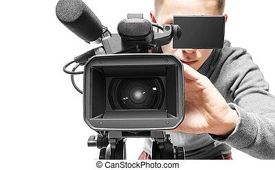 videokamera, bediener