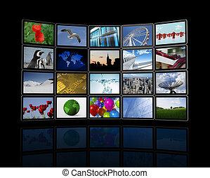 videomuur, gemaakt, van, plat, tv, schermen