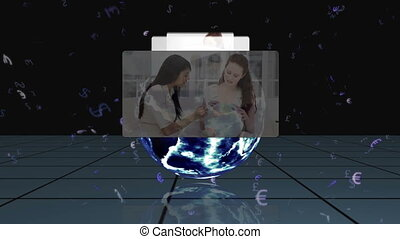Videos appear from behind an Earth - Montage of videos...