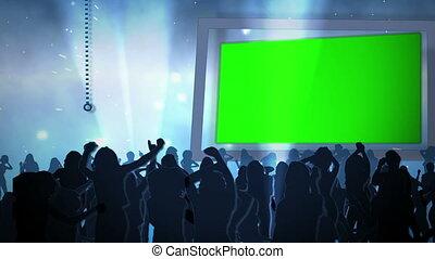 Videos in chroma keys against a blu