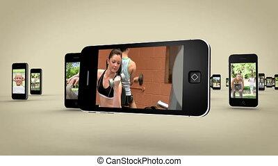 videos, közül, nők, munka munka, képben látható, smar