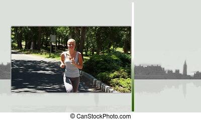 Videos of a blonde woman running