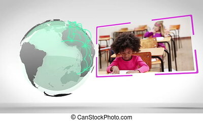 Videos of a classroom next to an Ea - Animation of a...