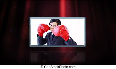 Videos of business people boxing an