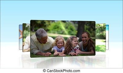 Videos of happy family outdoors - Animation of happy family...