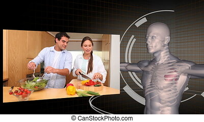 Videos of healthy eating with a dig - Animation of videos of...