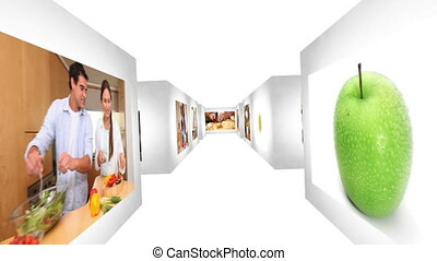 Animation of videos of healthy food presented by a woman
