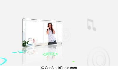 Videos of woman listening music