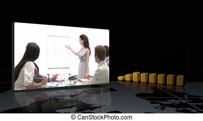 Videos showing business people - A montage of videos showing...