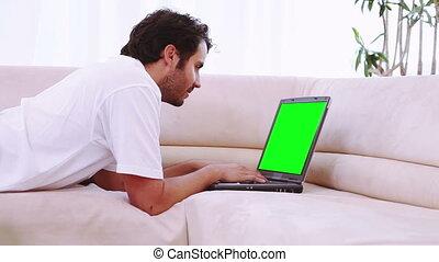 video's, van, mensen, gebruik, een, draagbare computer, in