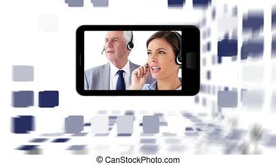 video's, van, mensen, werkende , in, een, helpen