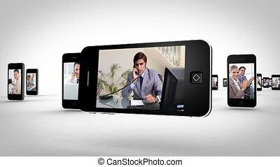 video's, van, zakenlui, op, de, ph