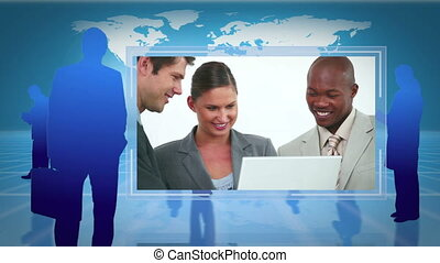 video's, van, zakenlui, werkende , t
