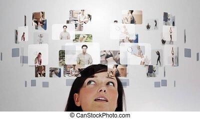 video's, verbaasd, fitness, velen, vrouw
