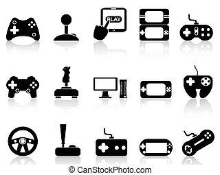 videospel, en, bedieningshendel, iconen, set