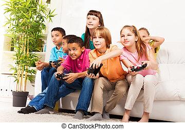 videospiel, friends, intensiv