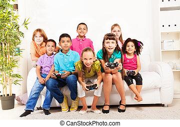 videospiel, friends, spielende