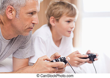 videospiele, seine, vater, sohn, spielende