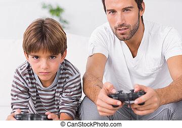 videospiele, vater, sohn, spielen zusammen