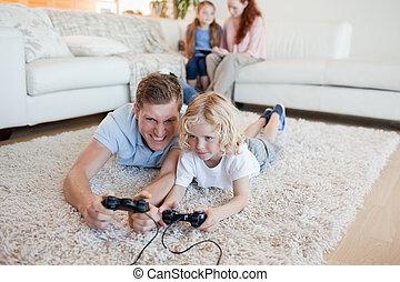 videospiele, vater, sohn, spielende
