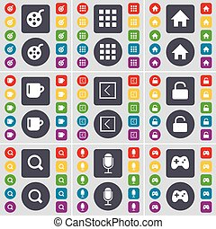 Videotape, Apps, House, Cup, Arrow left, Lock, Magnifying glass, Microphone, Gamepad icon symbol. A large set of flat, colored buttons for your design. Vector