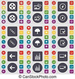 Videotape, Picture, Flash, Link, Tree, Survey, Arrow left, Graph, Laptop icon symbol. A large set of flat, colored buttons for your design. Vector