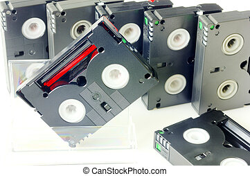Videotapes isolated on white