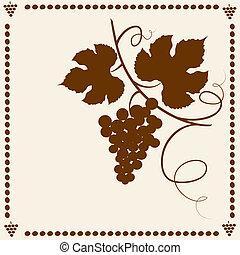 vides, frame., jardín, uva