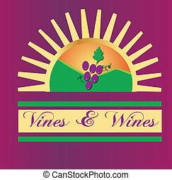 vides, y, vinos, sol, logotipo