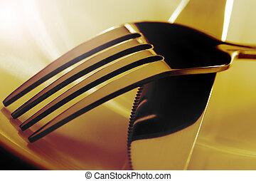 vidlice, a, nůž