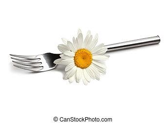 vidlice, s, heřmánek, květ