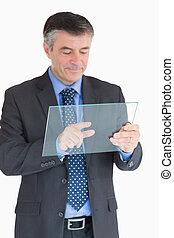 vidraça, tocar, homem negócios