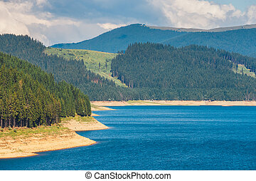 Vidra Lake is located in the Parang Mountains, Romania