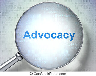 vidrio, óptico, concept:, advocacy, ley