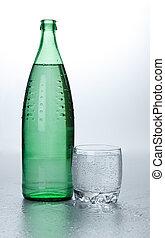 vidrio agua, cerca, botella