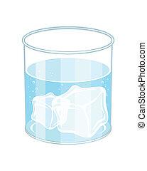 vidrio agua, con, hielo