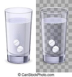 vidrio agua, y, píldoras