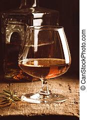 vidrio, aguardiente, Coñac, o, botella