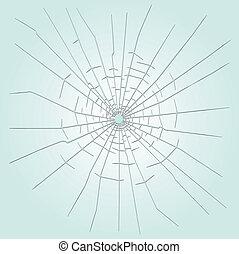 vidrio, agujero, bala